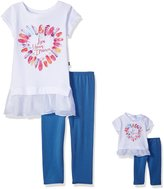 Dollie & Me Big Girls' Short Sleeve Tunic with Legging and Matching Doll Outfit