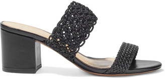 Alexandre Birman Lanny Crochet And Basketweave Leather Mules