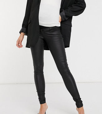 Mama Licious Mamalicious Maternity over the bump coated jeans in black