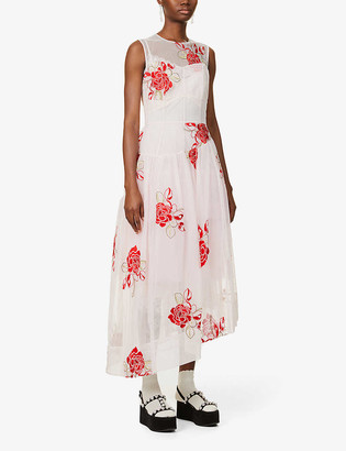 Simone Rocha Floral-print tulle and lace maxi dress