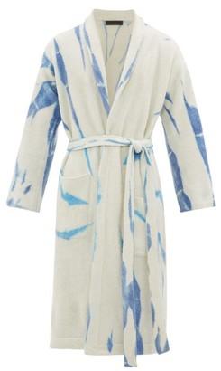 The Elder Statesman Cyclone Belted Cashmere-blend Bathrobe - Blue Multi