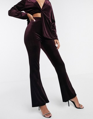 Asos Design DESIGN jersey kick flare suit pants in velvet-Red