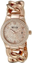 SO&CO New York Women's 5083.3 SoHo Quartz Crystal Filled Date 16K Rose Tone Chain Link Bracelet Watch