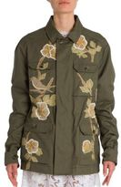 Valentino Floral Embroidered Cotton Utility Jacket