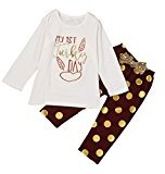 Baby Girls Clothes Set,Fheaven Cute Long Sleeve Cotton Blouse + Pants with Bowknot (2T)