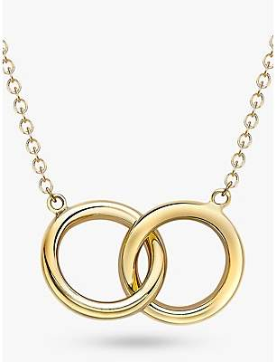 IBB 9ct Gold Linked Ring Pendant Necklace, Gold