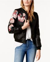 Joe's Jeans Embroidered Floral Faux-Leather Bomber Jacket