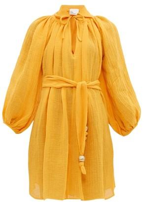 Lisa Marie Fernandez Poet Linen-blend Mini Dress - Womens - Yellow