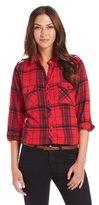 C&C California Women's Brushed Flannel Long Sleeve 2 Pocket Button Down Shirt