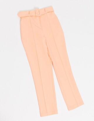 Asos DESIGN high waist belted cigarette pant in pastel pop