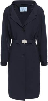 Prada Belted Logo-embellished Cotton-blend Coat