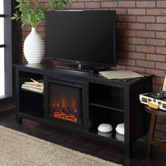 Beachcrest Home Sunbury TV Stand for TVs up to 65 inches with Electric Fireplace Included Color: Black