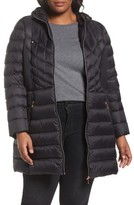 Bernardo Plus Size Women's Hooded Packable Down & Primaloft Coat