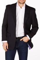 Levinas Navy Sharkskin Two Button Peak Lapel Wool Slim Fit Blazer