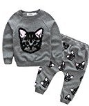 SMTSMT 2017 Baby Girl Cats Print Tracksuit +Pants Outfits (2T, Gray)