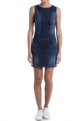 Freeman T. Porter Denim Sleeveless Dress with Round Neck