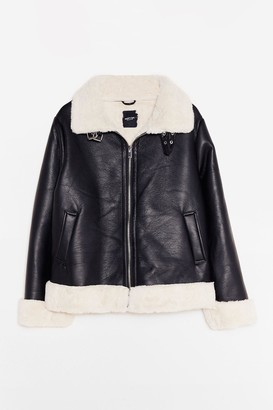 Nasty Gal Womens It's Now or Faux Leather Plus Aviator Jacket - Black - 16