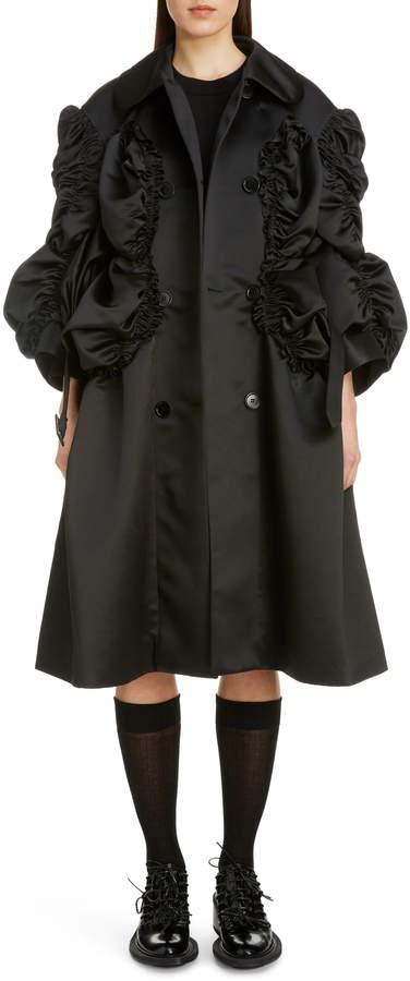Simone Rocha Belted Shirred Satin Coat
