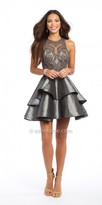 Camille La Vie Taffeta Beaded Illusion Tiered Cocktail Dress