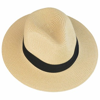 mifengdaer Woman Rollable Panama hat Girls Foldable Floppy Straw Hat Ladies Hand Woven Beach Cap Sun Hat UPF 50+ with Knot for Tourism Honeymoon Beach Shopping Church