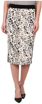 Vince Camuto Leopard Pencil Skirt w/ Solid Trim