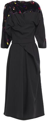 Chalayan Printed Velvet-paneled Draped Cady Midi Dress