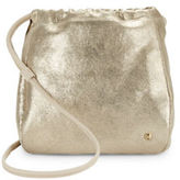 Halston Metallic Faux Leather Drawstring Crossbody