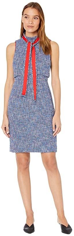J.Crew Tweed Dress with Neck Tie (Blue/Red Multi) Women's Dress