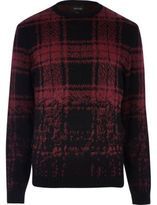 River Island MensRed faded check sweater