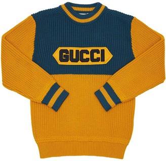Gucci Wool Knit Sweater W/ Logo Patch