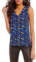 Jones New York Wavy Geometric Print Hi-Low Hem Pebble Crepe Sleeveless Tank
