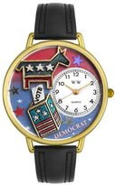 Whimsical Watches Women's G1110004 Unisex Gold Democrat Black Leather And Goldtone Watch