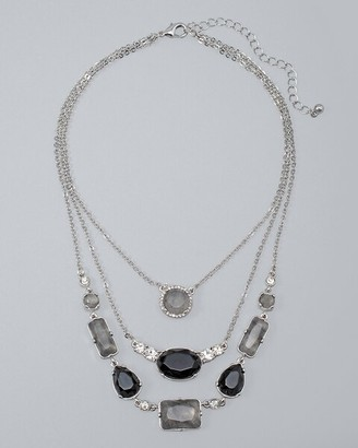 Chicos Gray Quartz & Onyx Multi-Row Necklace