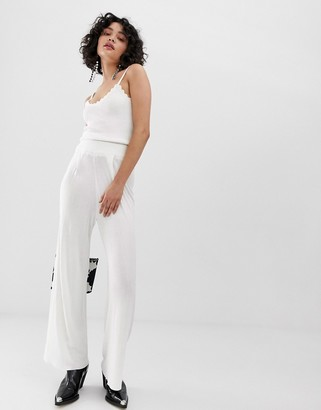 Emory Park wide leg trousers with ruched waistband-White