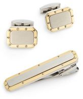 Saks Fifth Avenue Two-Tone Stainless Steel Cuff Link & Tie Bar Set