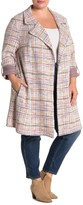 MelloDay Tweed Roll-Sleeve Trench Coat (Plus Size)