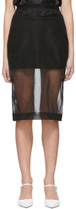 Miu Miu Black Nylon Mesh Pencil Skirt