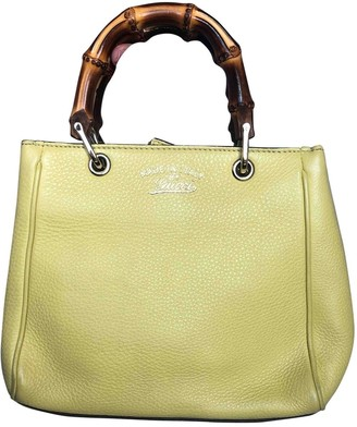 Gucci Bamboo Yellow Leather Handbags