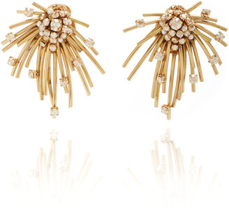Oscar de la Renta Firework Brass and Glass Stud Earrrings