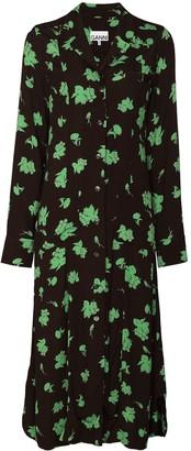 Ganni Floral-Print Midi Shirtdress