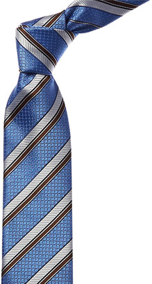 Canali Blue & Brown Stripe Silk Tie