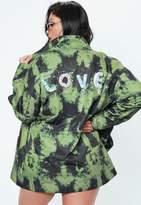 Missguided Curve Khaki Love Embellished Graphic Trucker Jacket
