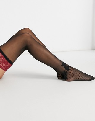 Hunkemoller Chase 15 denier velour band stay up stockings with back seam detail in red