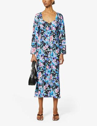 ART DEALER Floral-print stretch-silk midi dress