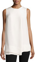 Derek Lam Faux-Wrap Silk Sleeveless Blouse, White