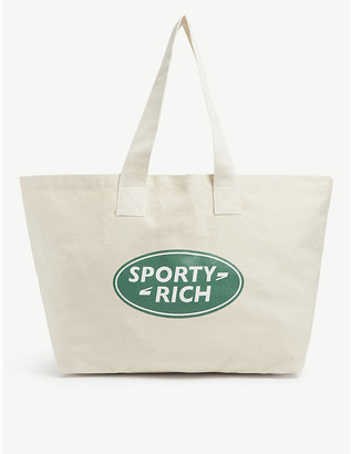 Sporty & Rich Logo-printed cotton canvas tote bag