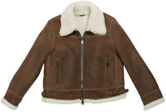 Brunello Cucinelli Girl's Shearling Zip Front Jacket w/ Monili Trim, Size 6