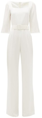 Goat Jagger Belted Crepe Wide-leg Jumpsuit - White
