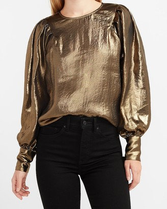 Express Gold Foil Pleated Balloon Sleeve Top