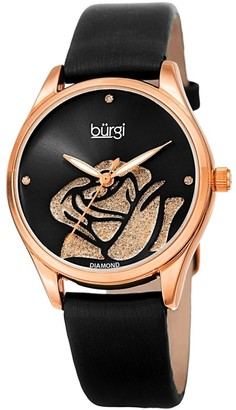Burgi Ladies Diamond Glitter Rose Floral Black Leather Strap Watch